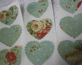Handmade Sticker Seals - Valentines Day - Scalloped Floral Hearts - Handmade Envelope seal