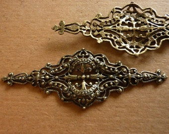 Vintage Filigree, 1970s Antiqued Brass Tone Renaissance Style Ornate Jewelry Findings or Ren Faire Costume Embellishments, 62x23mm, 3 pcs.