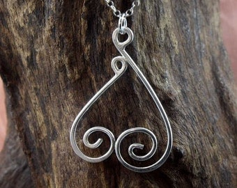 Mother and Child Heart Sterling Silver Pendant