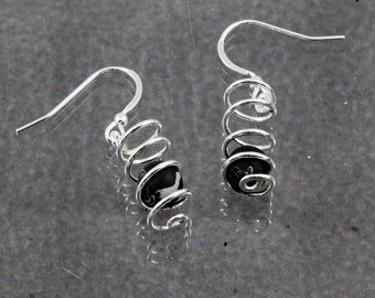 Black Onyx Spiral Earrings