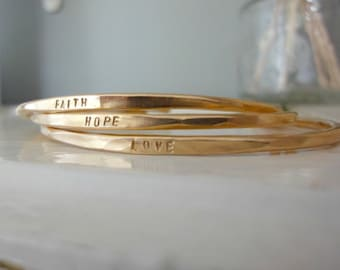 FAITH, HOPE andLOVE -  Whisper Cuffs - 14K Gold Filled - Stacking cuff   bangle bracelets- customizable