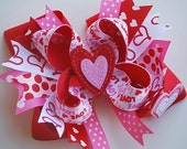 boutique RED and PINK VALENTINE over the top hair bow clip with felt heart appilique