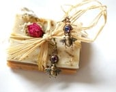 Tiny Bee & Bermuda Blue - Vintage Filigree - Blue Rainbow Earrings -  Brass