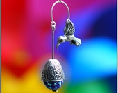 Silver Hummingbird Earrings - Hovering over Silver Engravings & Faceted Cluster Indigo Purple Bead