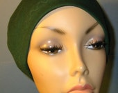 FREE SHIP USA Forest Green Cotton Hat Liner -Chemo, Cancer, Alopecia, Hijab Liner,  Sleep Cap, Scarf Liner