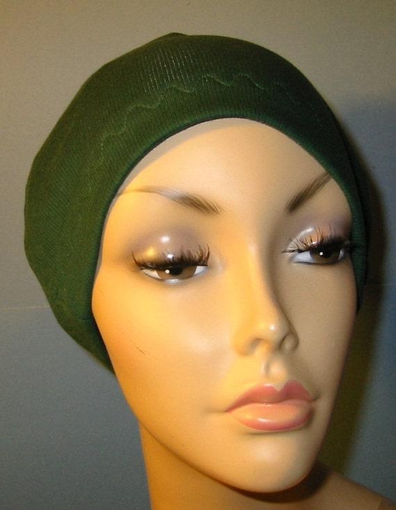 Forest Green Cotton Hat Liner -Chemo, Cancer, Alopecia, Hijab Liner,  Sleep Cap, Scarf Liner