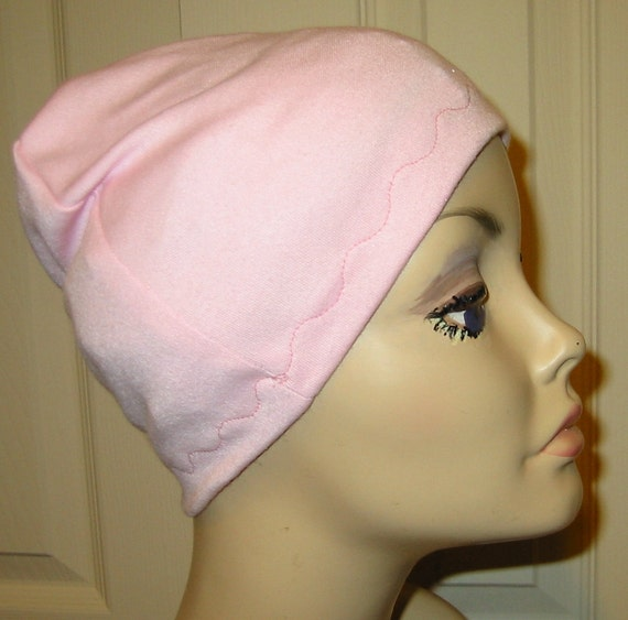 FREE SHIP USA Pink Cotton Hat Liner -Chemo, Cancer, Alopecia, Hijab Liner,  Sleep Cap, Scarf Liner