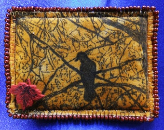 Tiny Art Quilt ATC Crow in a Tree in the Autumn