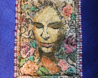 Tiny Art Quilt ATC Lady Mother Nature Spirit of the Garden