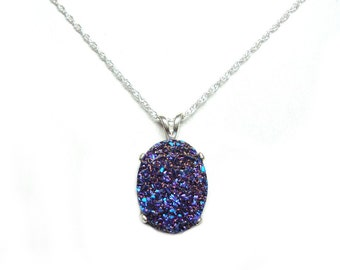 Drusy quartz sterling silver pendant with chain