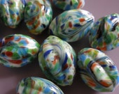 Vintage Glass Beads (2)(15x10mm) Rare Handmade Japanese Oval Melon Beads