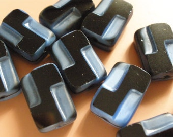 Vintage Glass Beads (2) Black & Blue Beads