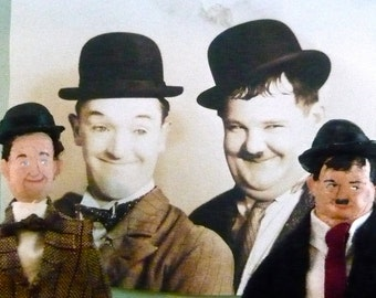 Laurel and Hardy Miniature Doll Art Set Old As Seen in American Miniaturist Magazine