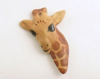 Vintage Brooch Giraffe Pin Pendant Carol Halmy Costume Jewelry