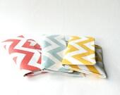 Chevron Bridesmaid Clutch Set of 5, Coral Gray Yellow Aqua, Bridal Clutch Purse, Wedding Clutch, Personalized Colors