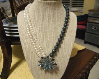 Pearl Necklace with Vintage Blue Rhinestone Flower Brooch