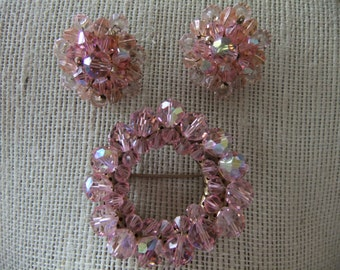 Vintage Pink Crystal Beaded Brooch and Matching Clip On Earrings