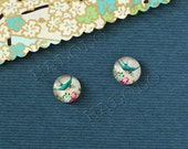 Sale - 10pcs handmade green bird with flower glass dome cabochons 12mm (12-0772)
