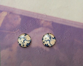 Sale - 10pcs handmade navy blue texture round clear glass dome cabochon 12mm (12-9816)