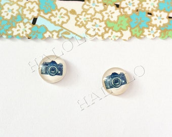 Sale - 10pcs handmade  camera clear glass dome cabochons 12mm (12-0318)