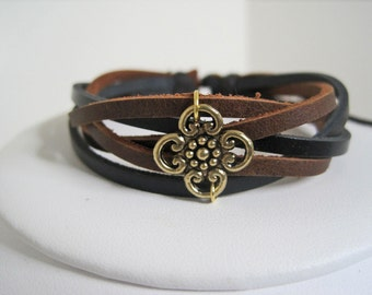 Leather Bracelet Black and Brown braided  wrap bracelet cuff