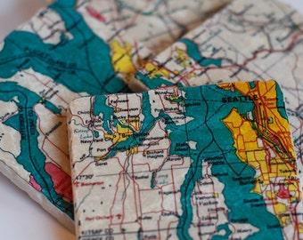 Coasters - Seattle Map - set of 4