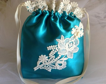 SALE, PRICE REDUCED: Turquoise Drawstring Bag, Ivory Gorgeous Flower Applique/Lace, Evening Bag, Special Event/Wedding Accessory