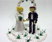 Custom Wedding Cake Topper Bride and Groom in Flower Patch with Arch