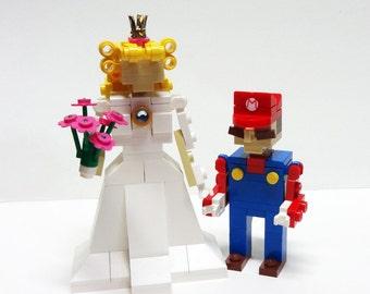 Mario and Princess Peach Wedding Cake Topper