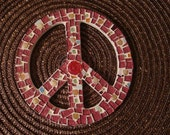 Shabby Chic Mosaic Peace Sign Handmade Original ooak