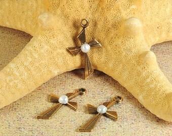 Brass cross charms, cross charms, small cross charms, christian cross