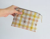 Handmade Zipper Pouch with Vintage Dot Fabric