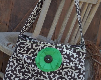 """The """"KIMBERLY""""  Bag  in black and white print fabric with emerald green accent"""