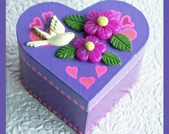 Lavender Heart Trinket Box,  Valentines Day, Jewelry Holder, Jewelry Box, Heart Shaped  Box, Earring Box, Ring Box, Unique Gift,