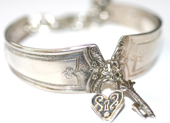 Reserved For Jeri   Heart Lock and Key Handmade Vintage Silverware Charm Bracelet