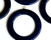 Vintage Navy Blue Plastic Pendants Hoops with Loop 40mm pnd043B