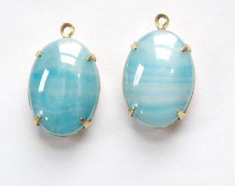 Vintage Blue Striped Glass Stones  in 1 Loop Brass Setting ovl003C