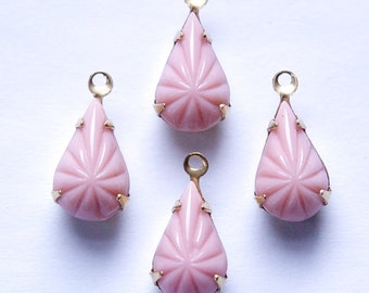 Vintage Opaque Etched Pink Glass Teardrop Stone in 1 Loop Brass Setting par003R