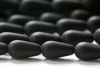 Matte Black Czech Teardrop Beads 13mm X 7mm czh018