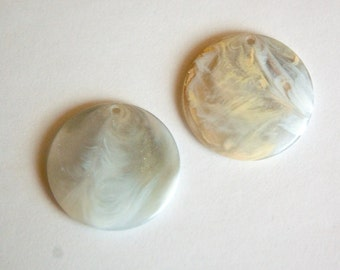 Vintage Gray and Peach Yellow Marbled Plastic Pendants 30mm pnd116J