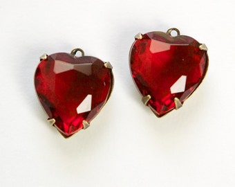 Ruby Red Glass Heart Pendants 1 Loop Brass Ox Setting 15mm hrt006A