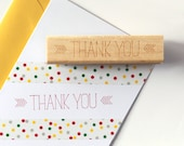 Thank You Rubber Stamp, Sweet Whimsical Typographic Design (Wood Mounted) with optional wooden handle (S105) DIY Favors, Gift Idea