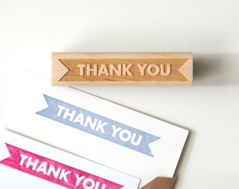Thank You Rubber Stamp, Bold Modern Typographic Design (Wood Mounted) with optional wooden handle (S103) DIY Cards, Holiday Gift Idea