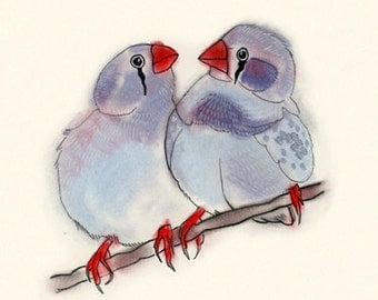 "Blue Bird art -   4"" X 6"" bird print of watercolor painting"