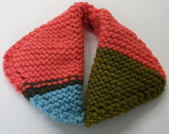 SALE Handknit Colorblocked Sweater Collar