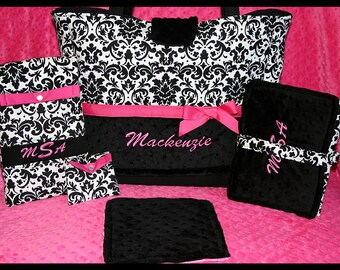 Personalized Baby Girl Large Diaper Bag With Changing Pad, Wipes Case, Pacifier Pouch and Mini-Burp~Tote~Minky~XL~Travel~Boutique~