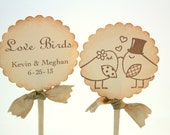 Love Bird Cupcake Toppers Food Picks Wedding Bridal Shower Set of 10