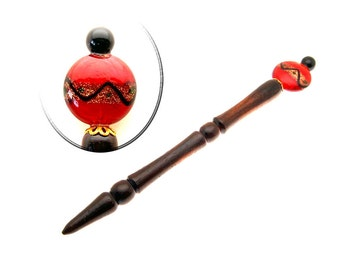 Handmade Wood Hair Stick Cocobolo Wood with Red and Black Bead
