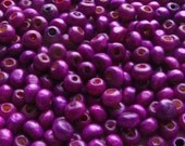 Purple Wooden Beads - Over 200 - 4mm Glossy Purple Wood Beads (WBD0011)