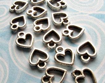 Small Heart Pendants - Set of 15 - Antique Silver Finish Heart Charms Pendants (SC0050)